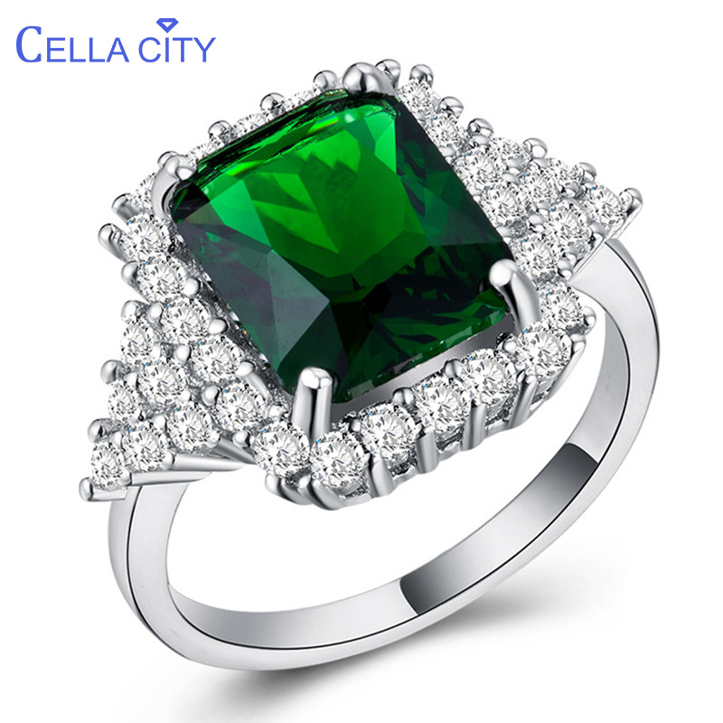 Cellacity Vintage Gemstones Ring Fine Jewelry Silver 925 For Women Emerald Zircon Female Accessories Party Anniversary Gift