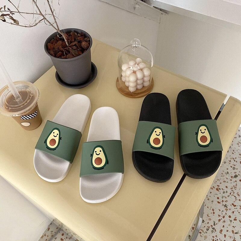 Summer New Lovely Cartoon Avocado Patterned Women Slipper Fashion Casual Outdoor Wear Female Slippers Bathroom Non-slip Shoes