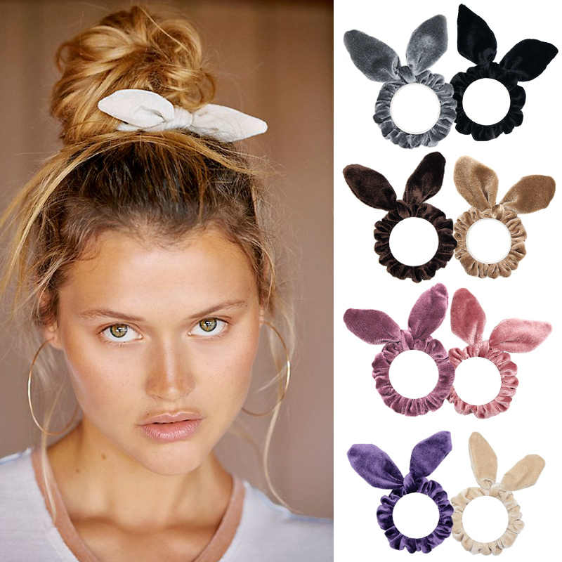 1PC Women Elegant Velvet Solid Elastic Hair Band Ponytail Holder Scrunchies Tie Hair Rubber Band Women Headband Hair Accessories