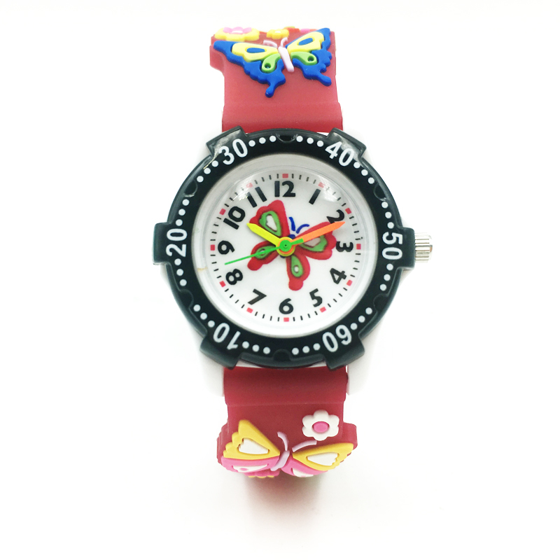 Kids Quartz Watch Cute Butterfly Children Girls Sport Watches Colorful Silicone Strap Kid Boys Wristwatch Student Fashion Clock