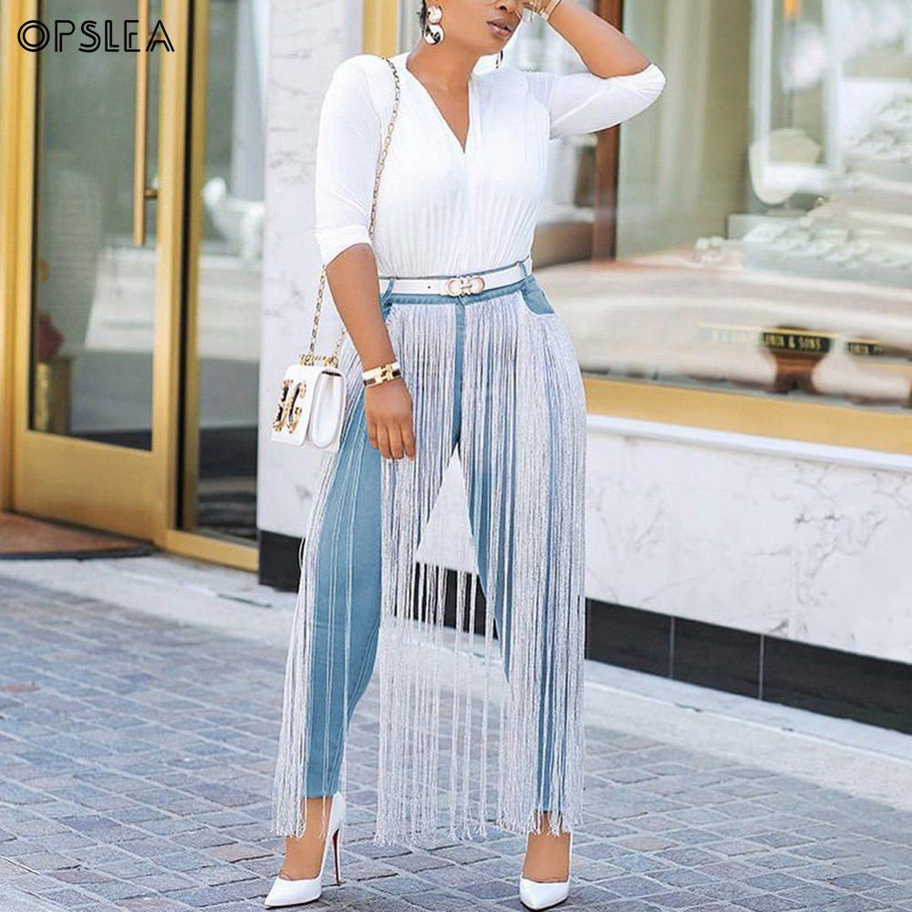 Opslea African Women Fashion Casual Tassel Jeans Dashiki Skinny High Waist Jeans Lady Slim Denim Pencil Pants High Elasticity