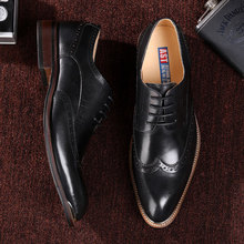 QYFCIOUFU Mens Formal Shoes Genuine Cow Leather Oxford Shoes For Men Dressing Wedding Men's Office Shoes Lace Up Brogue Shoes