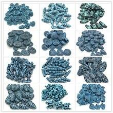 Синие круглые листья капли воды в форме сердца акриловые Винтажные бусины для изготовления ювелирных изделий DIY браслет ожерелье аксессуар...
