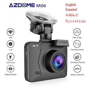 AZDOME M06 Cámara DVR para coche M06 con WiFi, GPS incorporado, lente Dual FHD 1080P frontal + VGA cámara trasera, cámara de salpicadero 4K Dashcam WDR visión nocturna