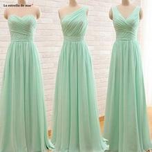 Vestido madrinha2019 new chiffon sexy V neck 3 style mint green blush pink gray purple royal blue bridesmaid dresses long