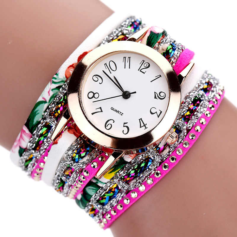 1PCsแฟชั่นผู้หญิงนาฬิกาควอตซ์โบฮีเมียสร้อยข้อมือดอกไม้อัญมณีนาฬิกาข้อมือของขวัญวาเลนไทน์Vintage Braidedสร้อยข้อมือนาฬิกา
