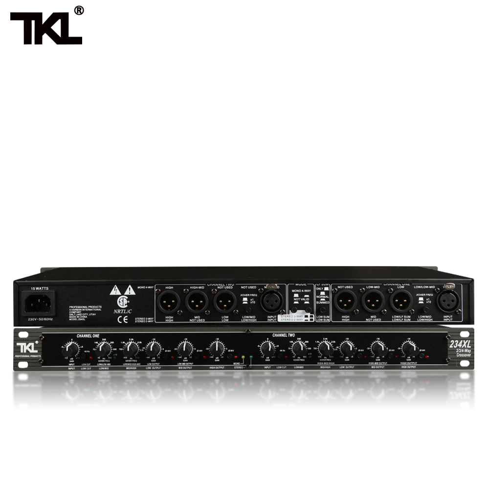 TKL Mono 4-Way Crossover High Quality Stereo 2/3 Way 234XL Professional Musical Instrument Crossover Electronic Crossover