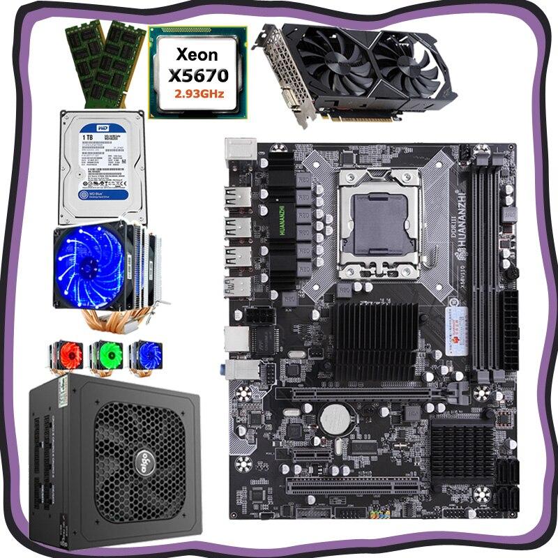 HUANANZHI Computer DIY X58 LGA1366 Motherboardset CPU Xeon X5670 With Cooler RAM 16G(2*8G) GPU GTX1050Ti 4G 1TB HDD PSU 500W