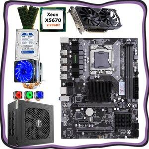 Huananzhi computador diy x58 lga1366 conjunto de placa mãe cpu xeon x5670 com refrigerador ram 16g (2*8g) gpu gtx1050ti 4g 1 tb hdd psu 500 w|Placas-mães| |  -