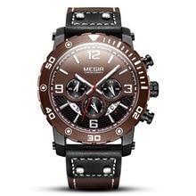 MEGIR Top Brand Sport Mens Watches Fashion WatchComplete Calendar Leather Luminous Watch Men Clock