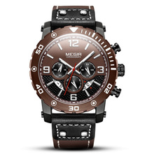 цена MEGIR Top Brand Sport Men's Watches Fashion Men's WatchComplete Calendar Leather Luminous Watch Men Watch Clock онлайн в 2017 году