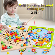 2 IN 1 Baby Educational Toys Wooden Fishing Clip Beads Magnetic Fishing Toys Set Funny Game Toys For Children Brinquedos 2019(China)
