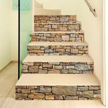 13 pçs/set retro pedra tijolo escada adesivo casa decoração da escada papel de parede adesivo vinil escadas renovatie mural trapstickers