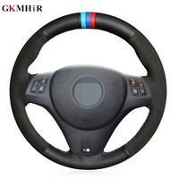 Black Genuine Leather Suede Hand stitched Car Steering Wheel Cover for BMW M Sport M3 E87 E81 E82 E88 E90 E91 E92 E93
