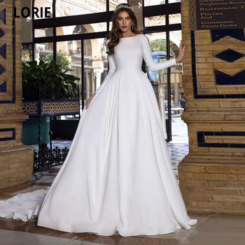 LORIE Muslim Weding Dresses Satin Beach Bride Gowns with Full Sleeve O-neck White Princess Party A-line Simple Long Train