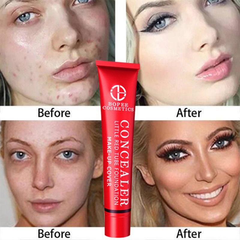 Small Red Tube Concealer Foundation Cream Face Blemish Cover Facial Spots And Acne Marks Makeup Liquid Concealer Cosmetic PTCS