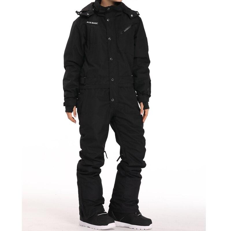 Синий волшебный водонепроницаемый Сноубординг цельный лыжный комбинезон для мужчин сноуборд-30 градусов лыжный костюм зимняя одежда комбинезон - Цвет: new black