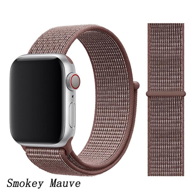 Спортивная петля ремешок apple watch band 42 мм 38 мм apple watch 4 3 band iwatch band 44 мм 40 мм correa pulseira 42 44 нейлоновый ремешок для часов - Цвет ремешка: Smokey Mauve