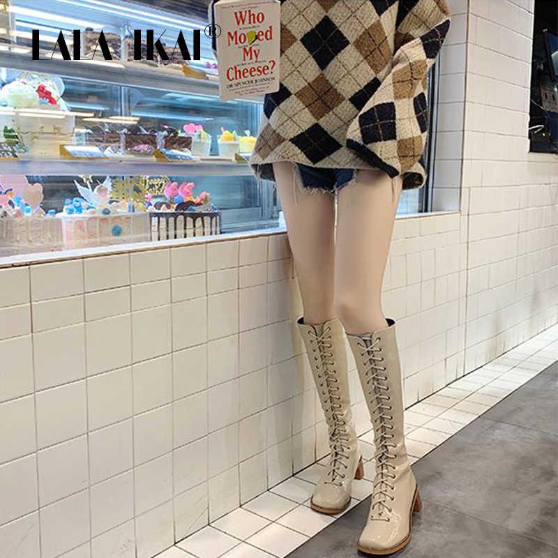 LALA IKAI ayakkabı kadın sonbahar kış PU deri siyah diz çizmeler kadın orta topuklu motosiklet botları zapatos de mujer XWC6098-4