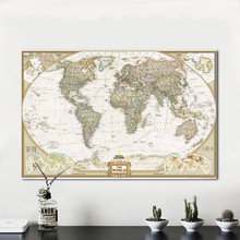 New 80x120cm Retro World Map Living Room Wall Decoration Frameless Picture Core Office Simple Personalized World Map Hanging Pic