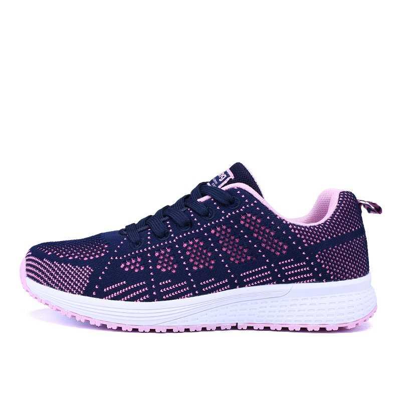 Turnschuhe Schuhe Frau Sport Schuh Lace-Up Mesh Runde Cross Strap Damen Flache Turnschuhe Laufschuhe Casual Frauen Schuhe komfortable