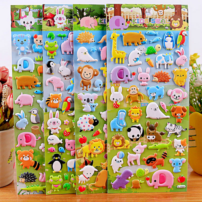 4 Pieces Children Kawaii Animal Duck Bubble Girl Boy Stickers Baby Tiger Scrapbook Sticky Kids  Funny Education Sticker LaptopTo