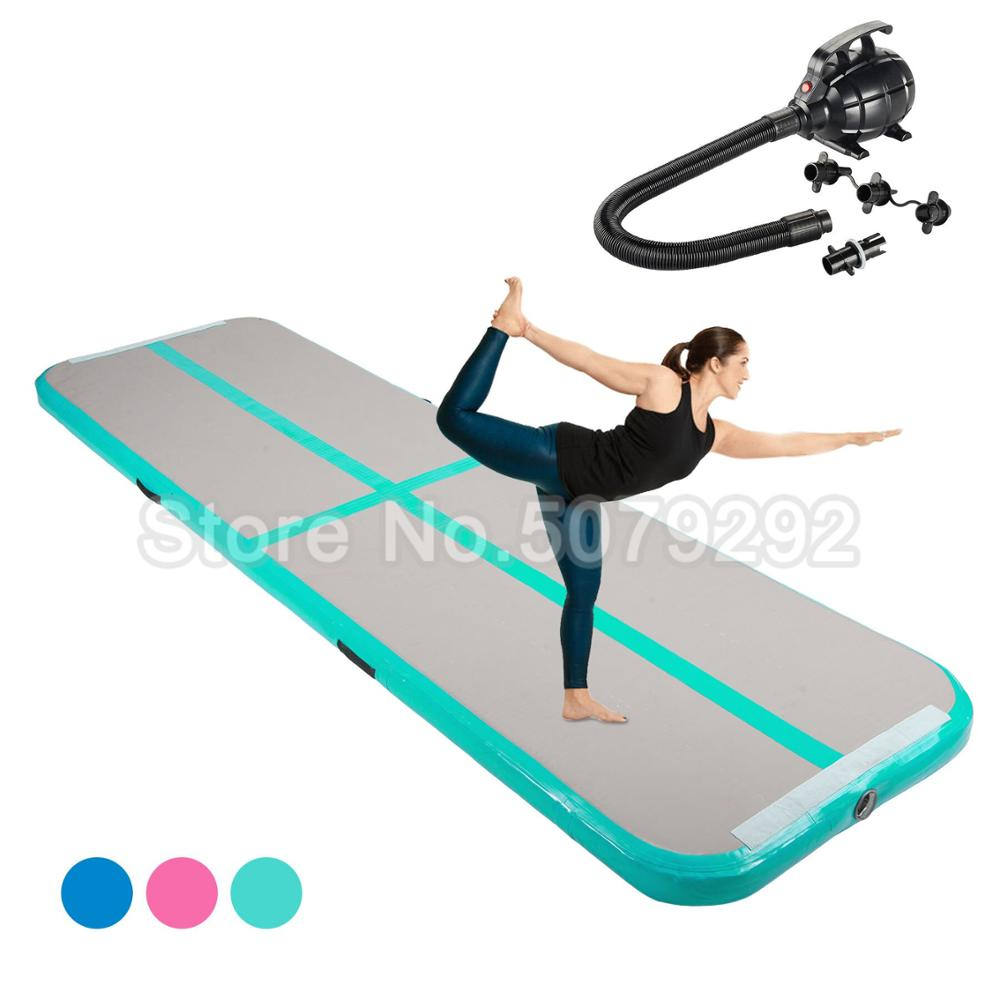 Mint Green Inflatable Air Track Mat 1-3M Mini Size Inflatable Airtrack With Pump Big Discount Inflatable Air Floor For Home Use