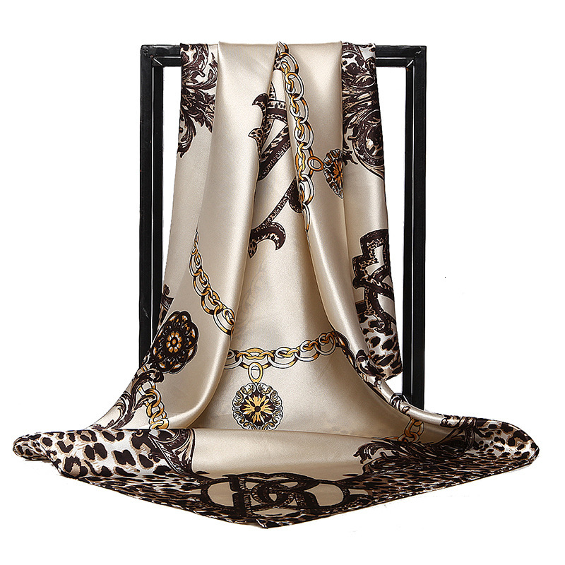 <font><b>90</b></font> <font><b>90</b></font> Cm * Cm Square Scarf Women Leopard Large Square Scarf Kerchief Bag Accessories Multifunction Shawl image