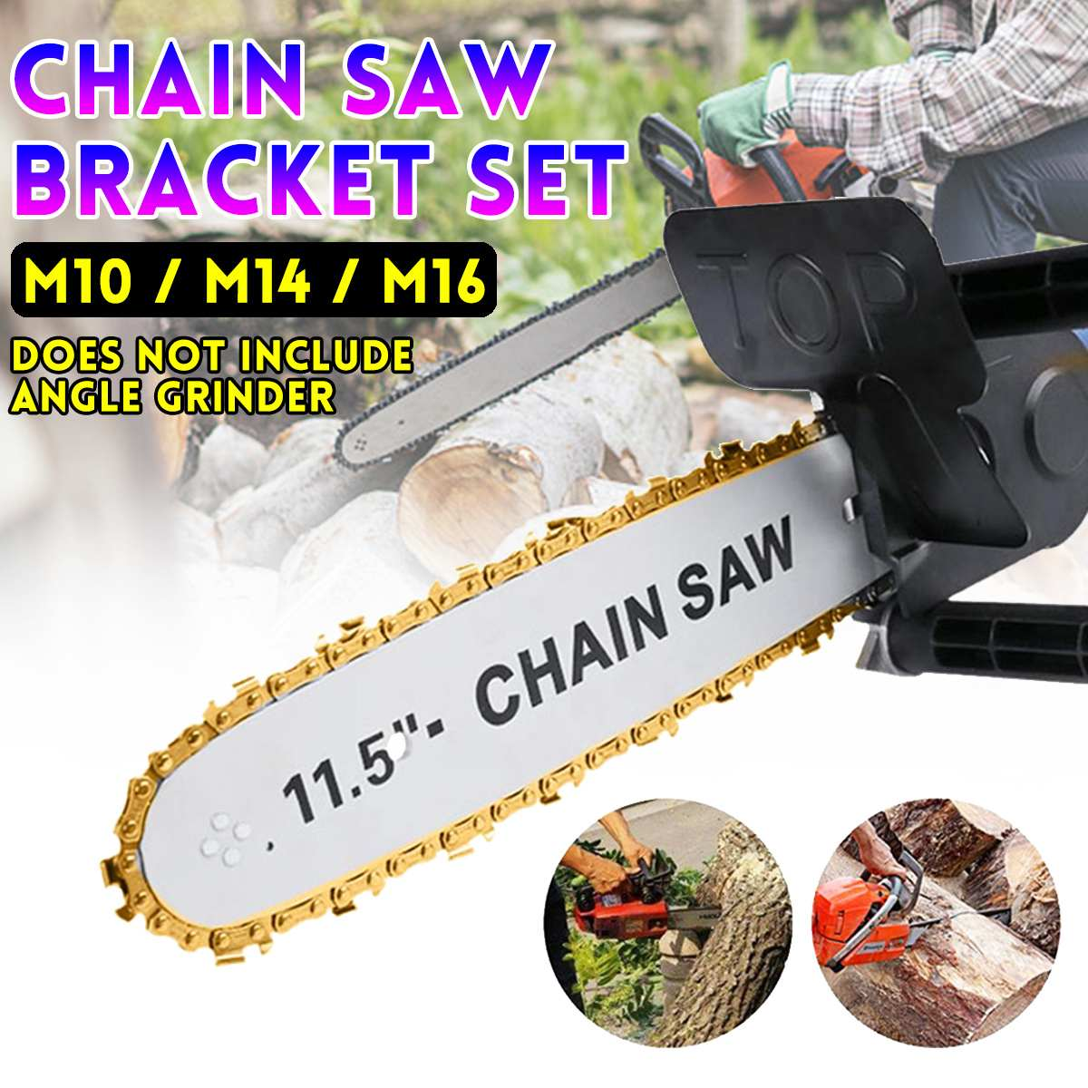 11.5 Inch Chainsaw Bracket Changed 100 125 150 Electric Angle Grinder M10/M14/M16 Into Chain Saw Woodworking Power Tool Set