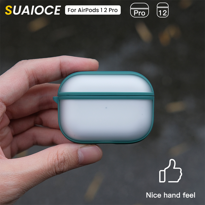 SUAIOCE Original Luxury Shockproof Case For AirPods Pro Case Matte Transparent Protective Cover For AirPods 3 2 1 Coque Fundas