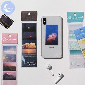 YueGuangXia puesta de sol de Ins serie pegatinas Scrapbooking planificador portátil LOMO bien decorativos papelería etiqueta 4 diseños 3Pcs