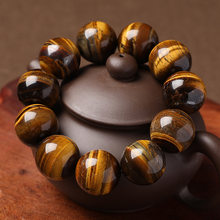 Natural tiger's eye stone bracelet, Buddha's bead and hand string to attract wealth and transport yellow tiger's eye jewelry