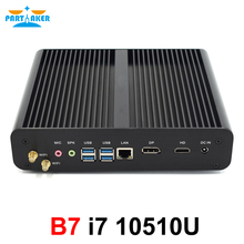 Mini PC windows 10, Intel i7-10710u/i7-10510u/10e Gen, ordinateur de bureau, 2x DDR4, 4K, Fanless, HTPC, Nettop, HD/DP, avec NVMe M.2 + Msata + 2.5 \