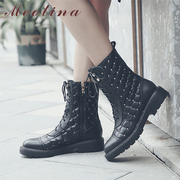 Meotina Autumn Motorcycle Boots Women Natural Genuine Leather Zip Flat Ankle Boots Rivets Round Toe Shoes Lady Winter Size 34-41