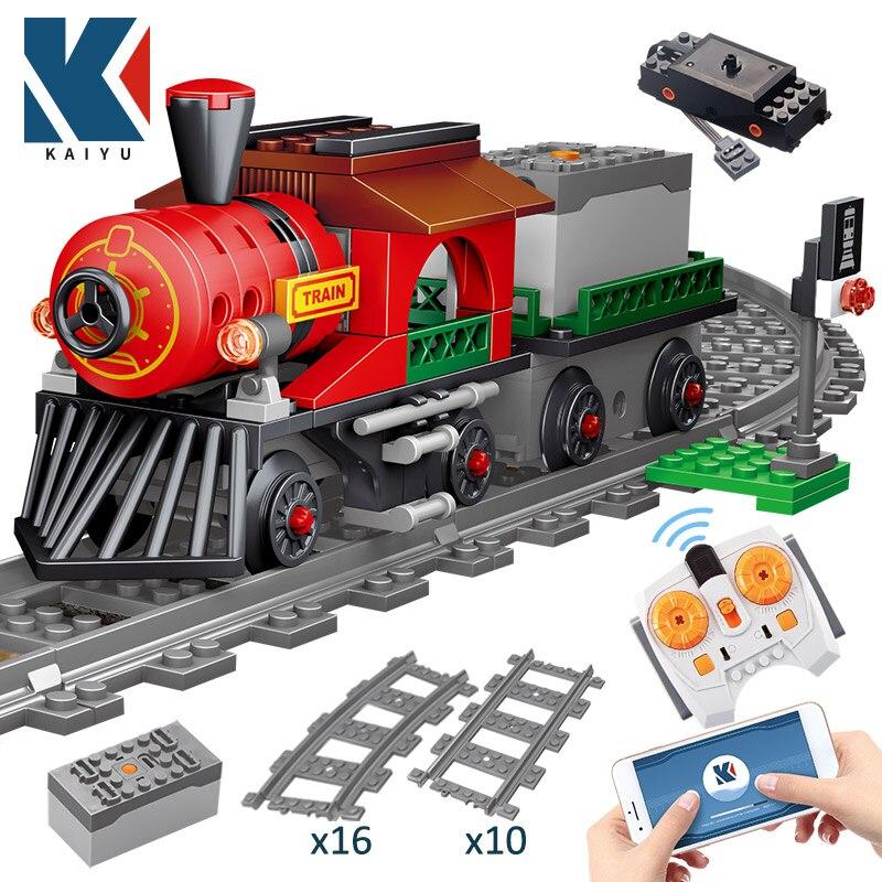 Tren Eléctrico de ciudad KAIYU con Control remoto para niños, bloques de construcción, Creator Technic RC, vehículo de vía férrea, juguetes para niños