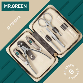 MR.GREEN  7PCS/set Nails Art Clipper Scissors Tweezer Knife toe Professional Manicure Nosehair cut Grooming kit  Tool Manicure 1