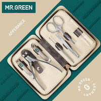 MR.GREEN 7PCS/set Nails Art Clipper Scissors Tweezer Knife toe Professional Manicure Nosehair cut Grooming kit Tool Manicure