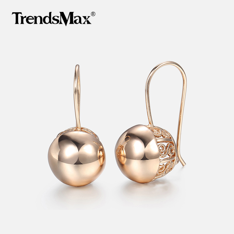 Hot Cut Out Ball Earrings For Women Girls 585 Rose Gold Woman Zircon Dangle Earrings Wedding Party Exquisite Jewelry GE66(Hong Kong,China)