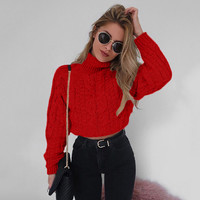 Woman Winter High Collar Sexy Umbilical Women's Sweater Twist Casual Knitted Sweater Female Tricot Jersey Jumper Sweater