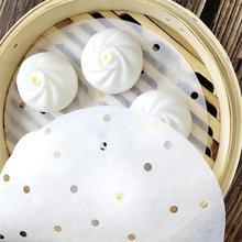 100 Pcs Steamer Paper Non-Stick Pad Paper Baking Paper Household Food Buns Silicone Oil Paper Baking Paper 500pcs round 1000pcs square steamed bun papers non stick household snack bread cake steamer oil paper pads