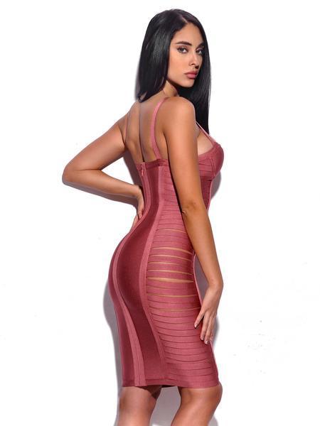 Сексуальное женское платье, хит продаж, длина до колена, розовый, черный цвет, Одноцветный ремешок, тонкое Бандажное платье, сексуальное веч... - 2