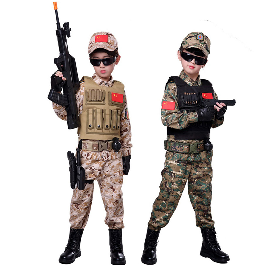 Kids Boy Girl Military Uniform SWAT Tactical Jungle Disguise Clothing Army Outdoors Airsoft Desert Camouflage Childre Costume