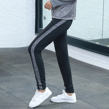 Dark gray/ Gray Quick-drying Sports Fitness Casual Slim Trousers WOMEN Autumn Breathable Stitching Striped Pants