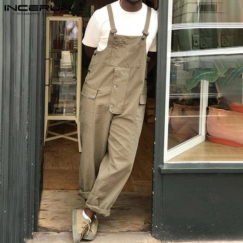 INCERUN Solid Color Men Jumpsuit Streetwear Bib Pants 2020 Casual Suspenders Loose New Fashion Trousers Cargo Overalls Men S-5XL