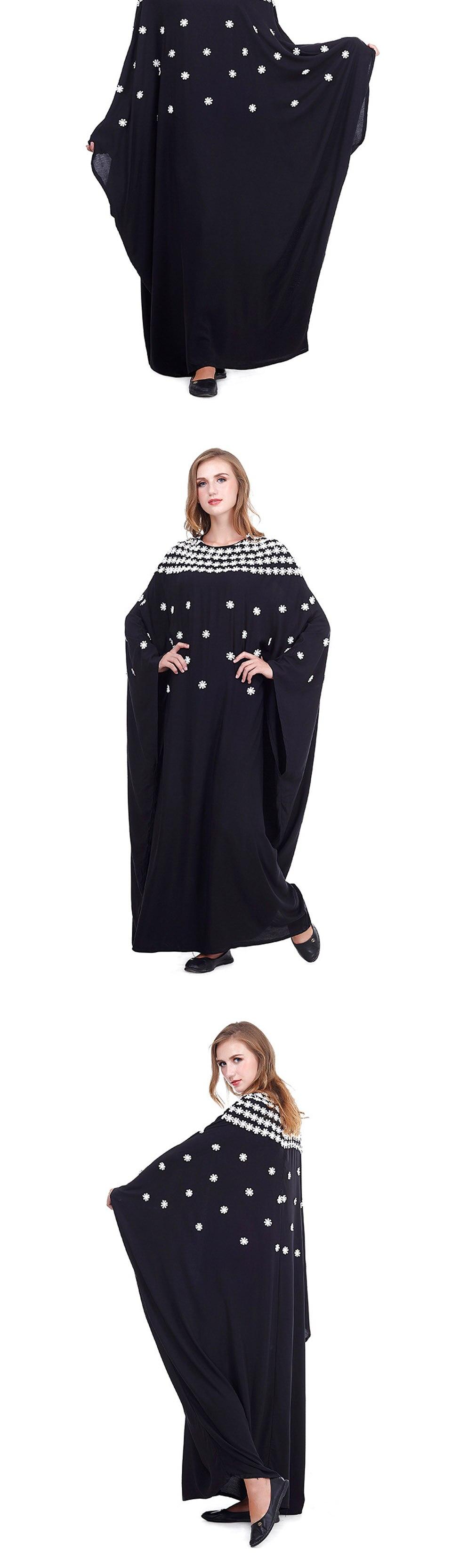 Muslim Abaya Dubai Dress Spring And Autumn Women's Embroidered Bat Sleeve Arabic Dress Loose Casual kaftans For Women Plus Size Dresses Islamic Prayer Dress