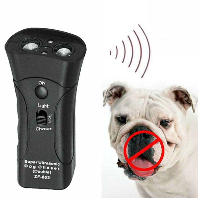 Pet Anti Dog Barking Pet Trainer LED Light Ultrasonic Gentle Chase Training Double Head Trumpet