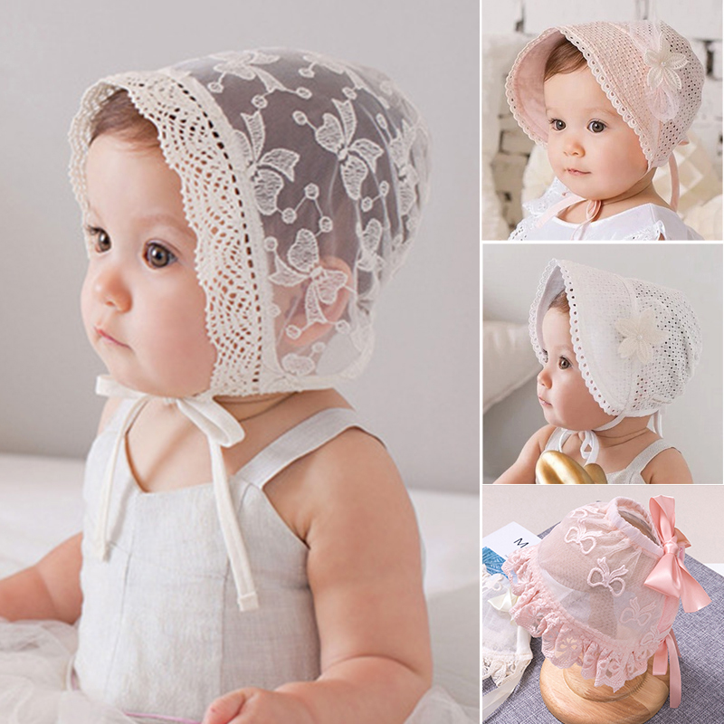 Cute Babys Girls Infant Toddlers Cotton Lace Flower Sunhat Kid Summer Cap Bonnet