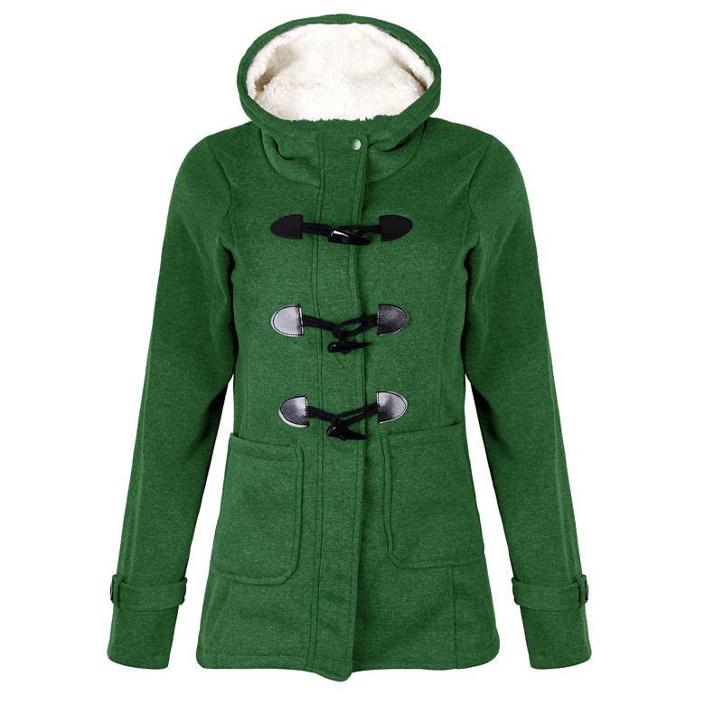2019 Women Hooded Cotton Blend Classic Croissant Leather Button-down Padded Jacket Winter Warm Coat Long Basic Parkas CA3105 20