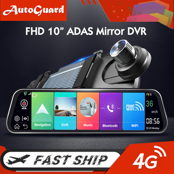 4G Car DVR 10 Inch Dash Camera Car Rearview Mirror Auto Recorder Android 8.1 GPS Car Camera Digital Video Recorder Dual Lens image