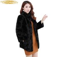 New Luxury Real Mink Fur Coats Women Winter Thick Warm Natural Fur Jacket Outerwear Genuine Fur Coat Female WYQ1577
